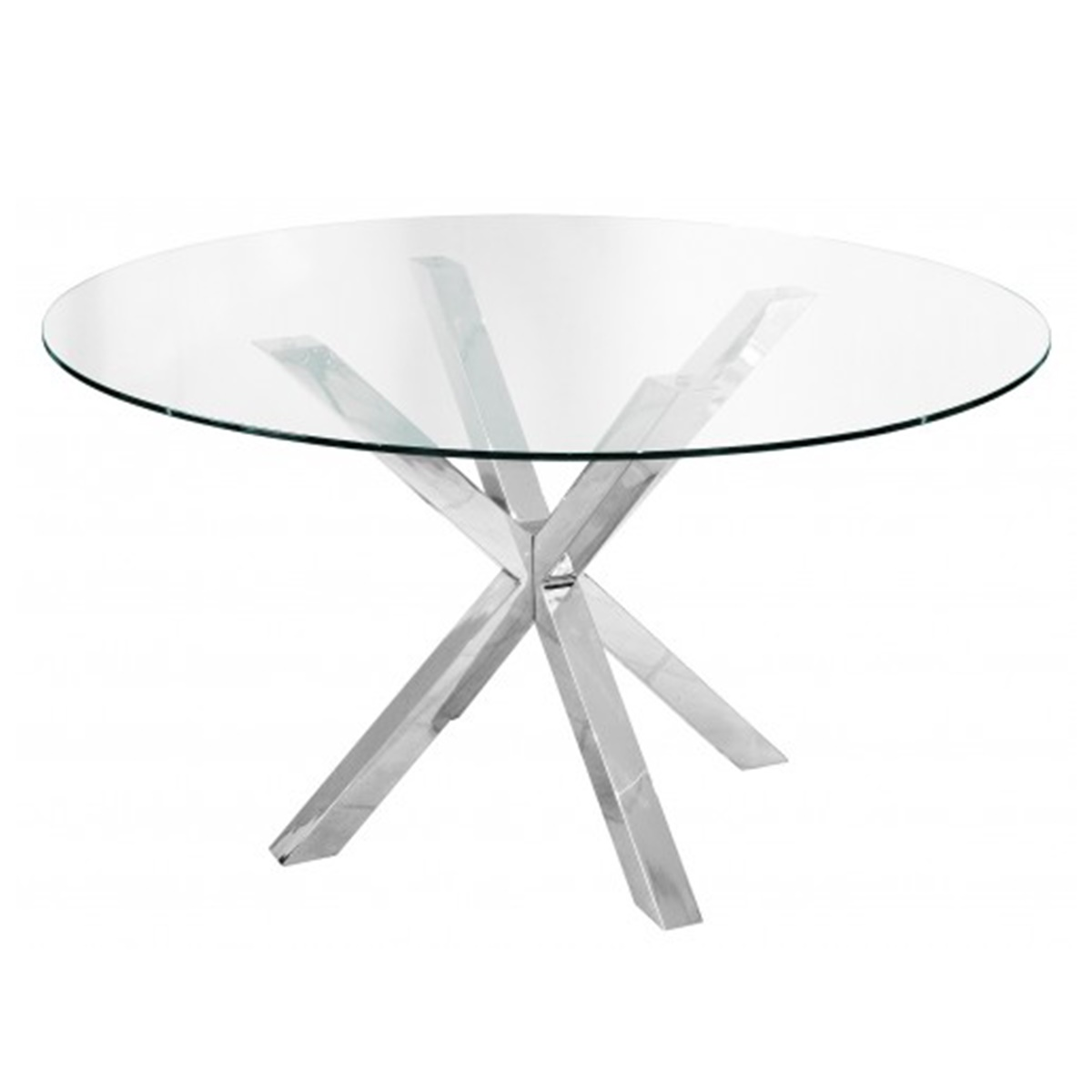 Criss Cross Round Dining Table Clear Glass