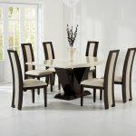 Elvas Cream & Brown Marble Dining Table 5