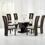 Elvas Cream & Brown Marble Dining Table 6