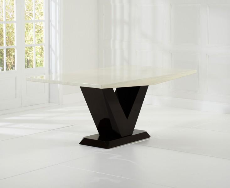Elvas Cream & Brown Marble Dining Table 7