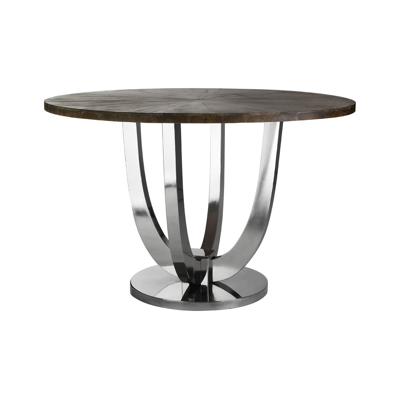 Greenwich Round Wooden Dining Table & Stainless Steel Base 1