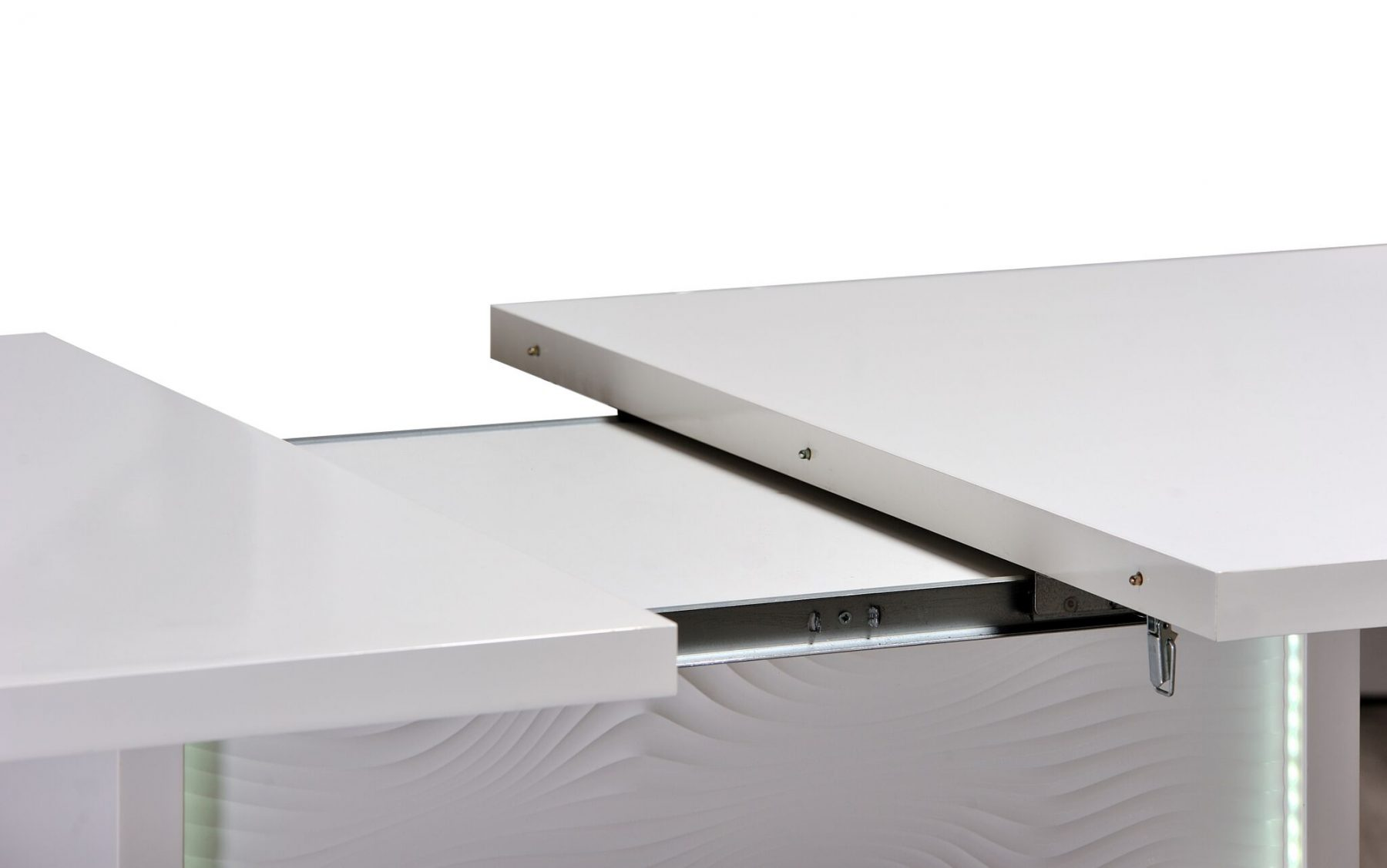 Karma Extending Led Dining Table White Gloss Free Delivery Fads # Meuble Tv Karma