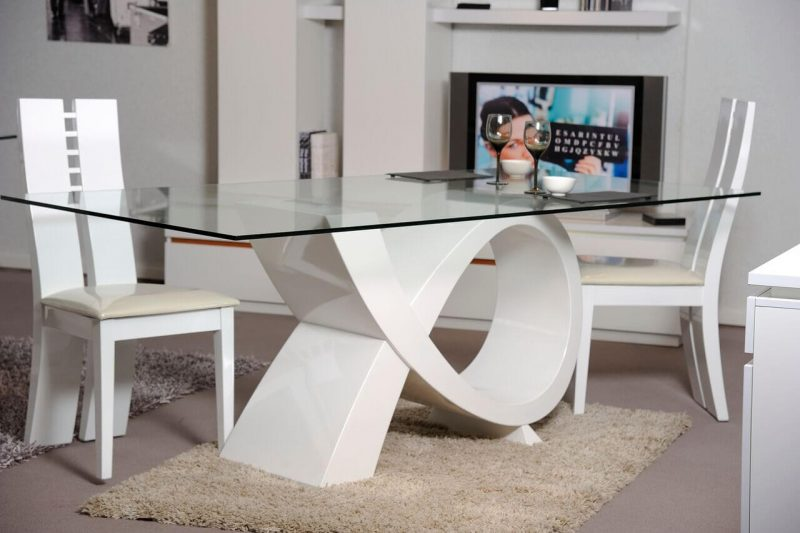 Logan Dining Table White High Gloss & Glass 3