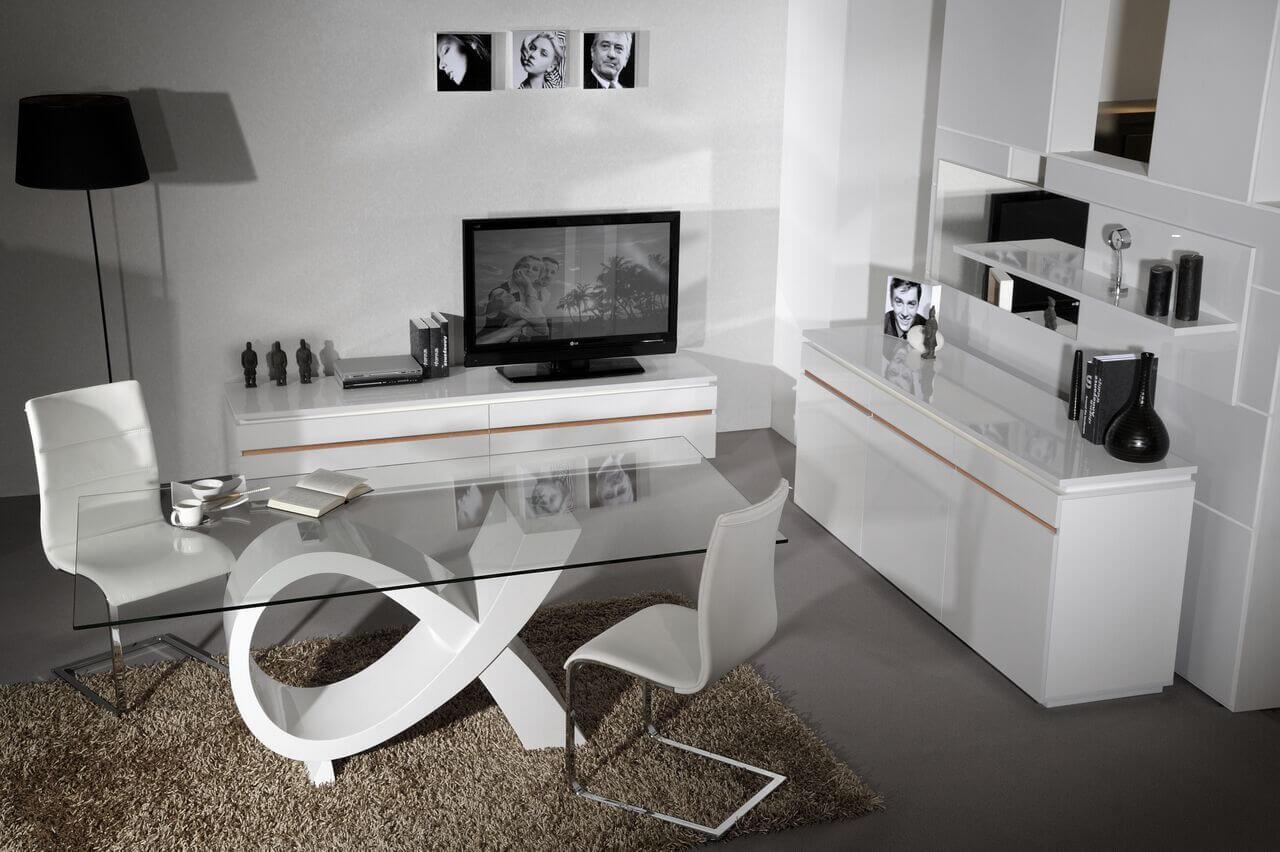Logan Dining Table White High Gloss & Glass 4
