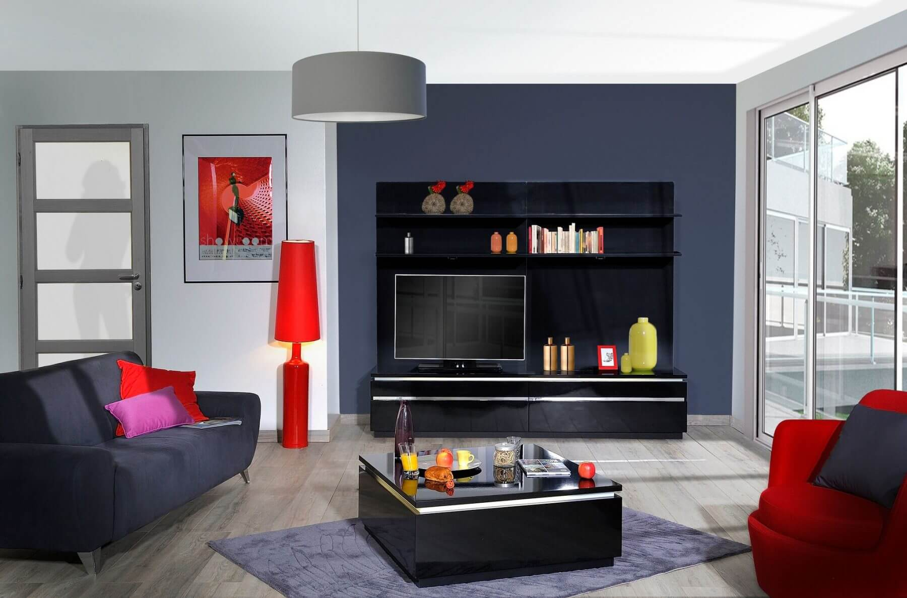 Logan Black Gloss TV Unit 2