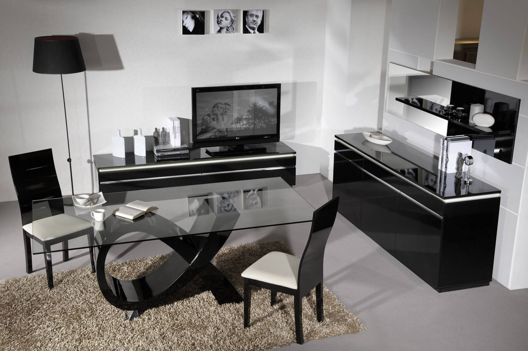 Logan Black Gloss TV Unit 3
