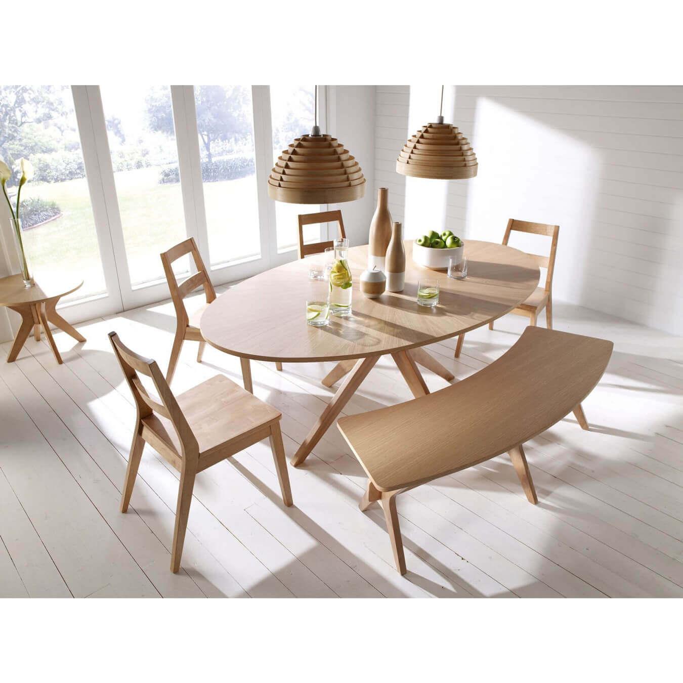 Salna White Solid Oak Veneer Oval Dining Table
