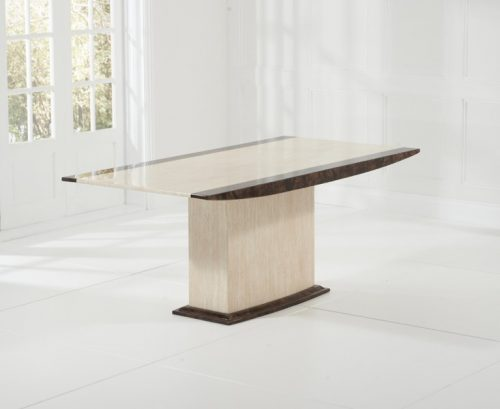 Monaco Cream 7 Brown Marble Dining Table 2