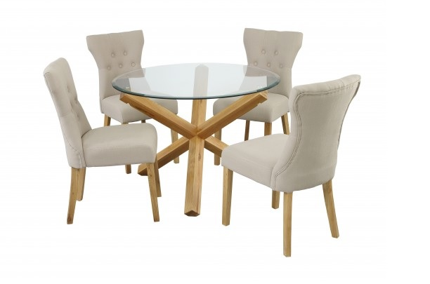 Grange Glass Solid Oak Dining Table, Round Glass And Oak Dining Table