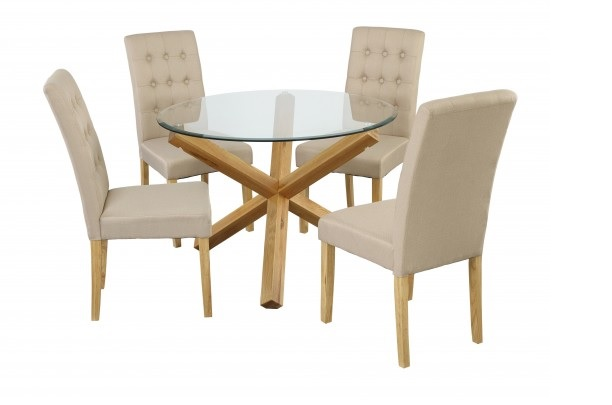 Grange Round Clear Glass & Oak Dining Table 3
