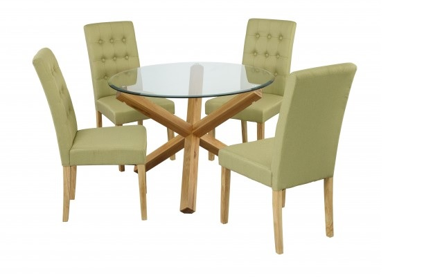 Grange Round Clear Glass & Oak Dining Table 4