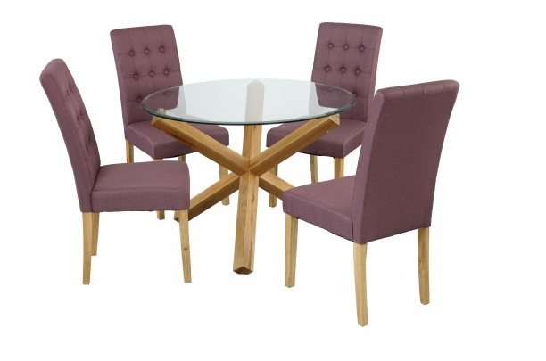Grange Round Clear Glass & Oak Dining Table 6