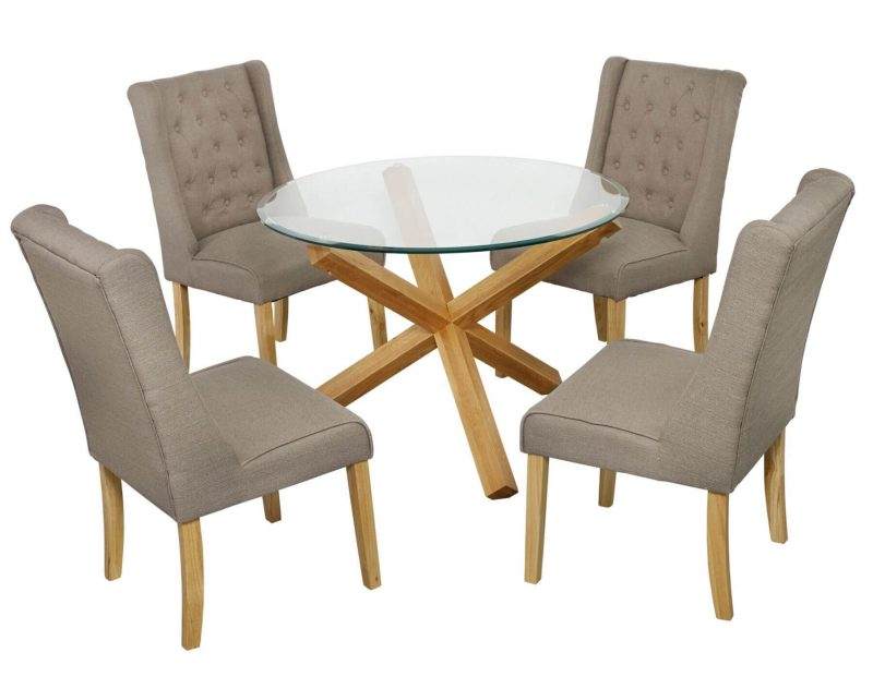 Grange Round Clear Glass & Oak Dining Table 8