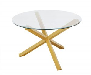 Grange Round Clear Glass & Oak Dining Table 1