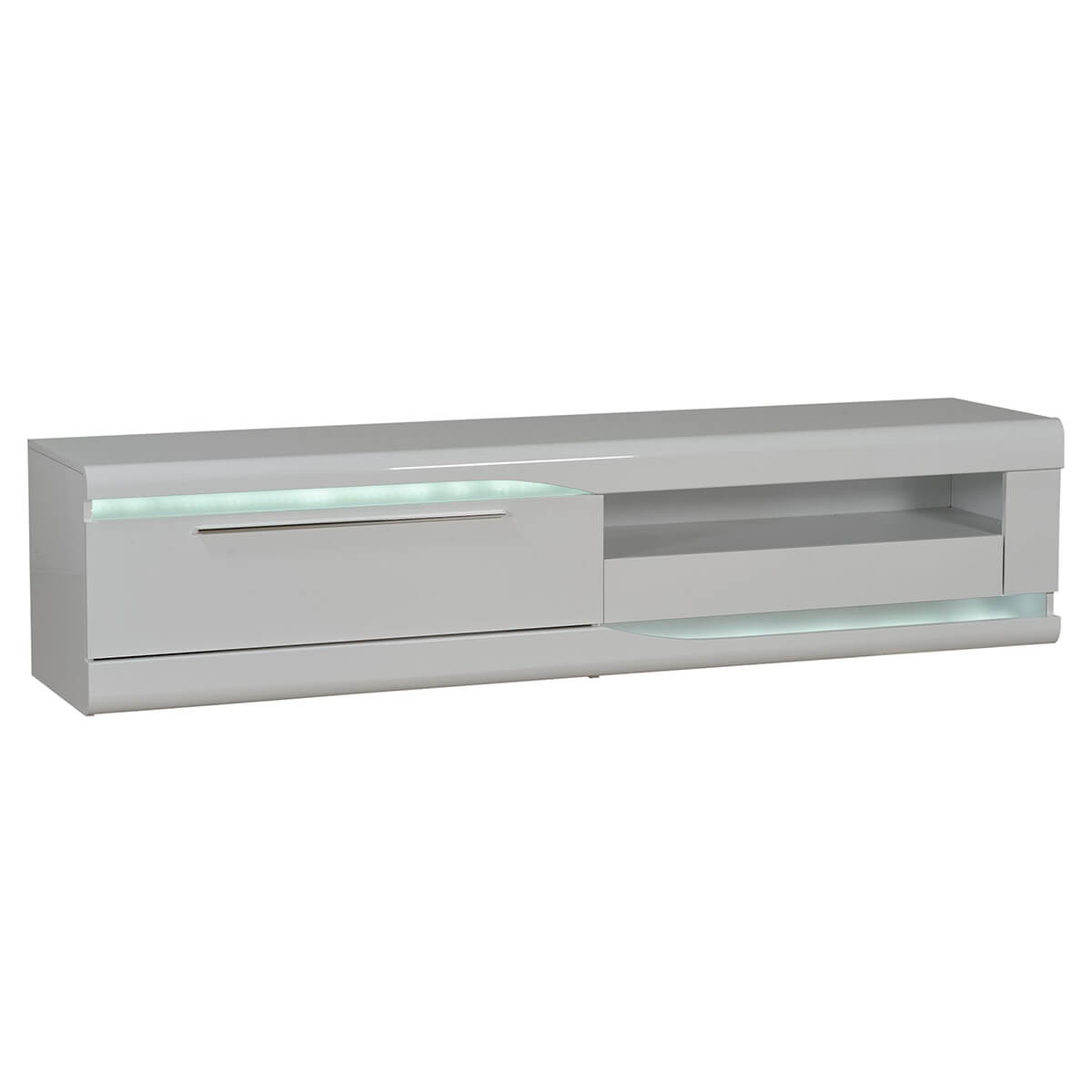 Ovio TV Unit 200cm White Gloss with LED Lighting