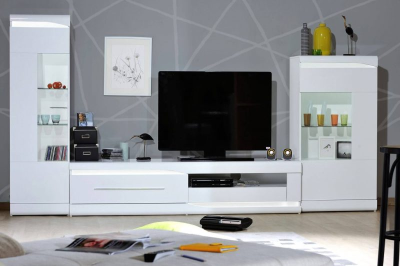 Ovio White Gloss TV Unit 2