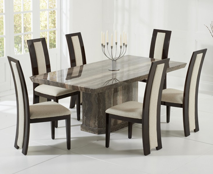 Rimini Brown Marble Dining Table 4