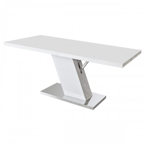 Robin Z Shaped White High Gloss Dining Table 6 Seater