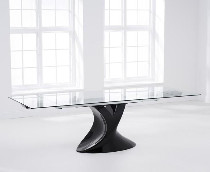 Seville Glass Extending Dining Table Black Gloss 3