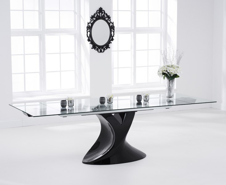 Seville extending glass dining table black gloss fads for 12 seater glass dining table