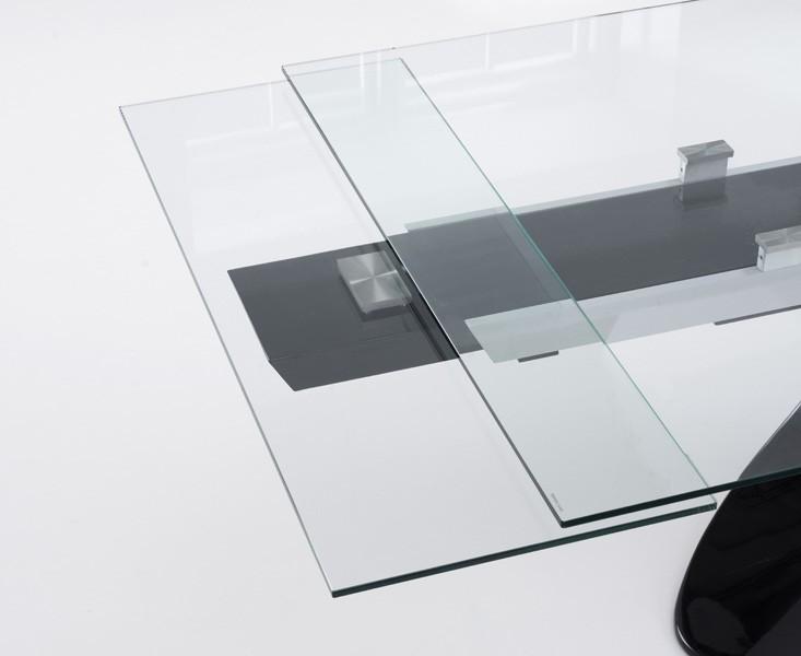 Seville Glass Extending Dining Table Black Gloss 6