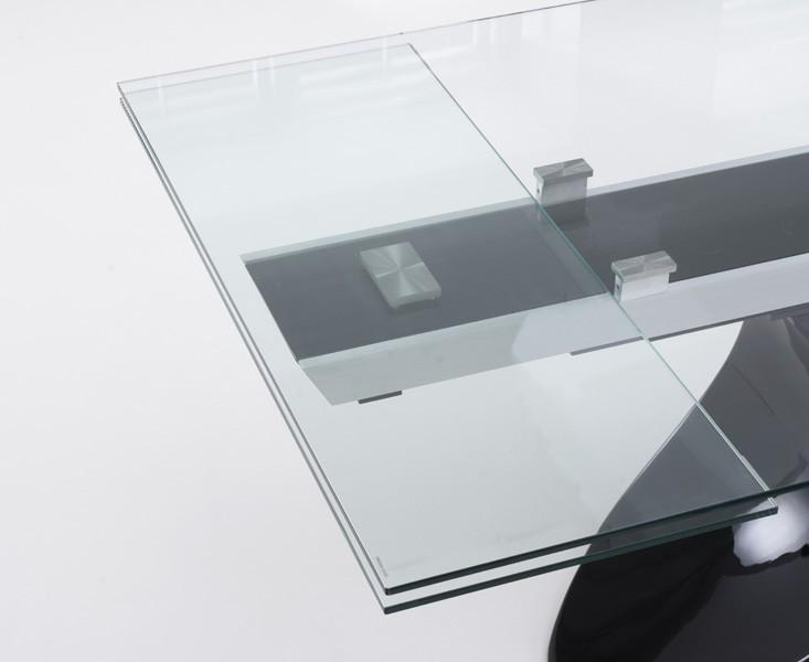 Seville Glass Extending Dining Table Black Gloss 7