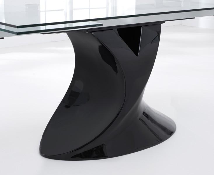 Seville Glass Extending Dining Table Black Gloss 5
