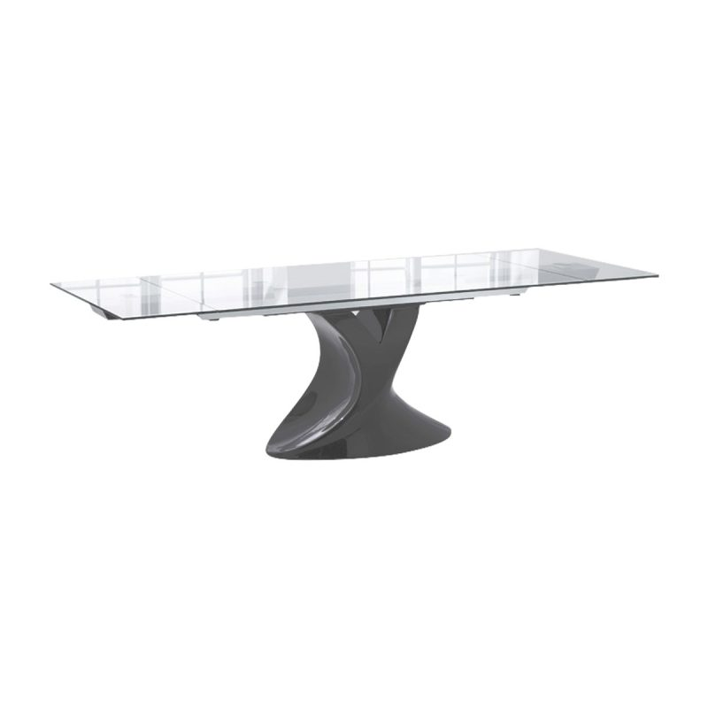 Seville Glass & Black Gloss Dining Table