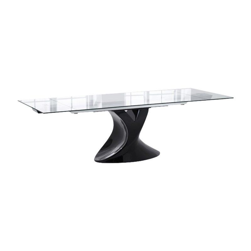 Seville Glass & Black Gloss Dining Table
