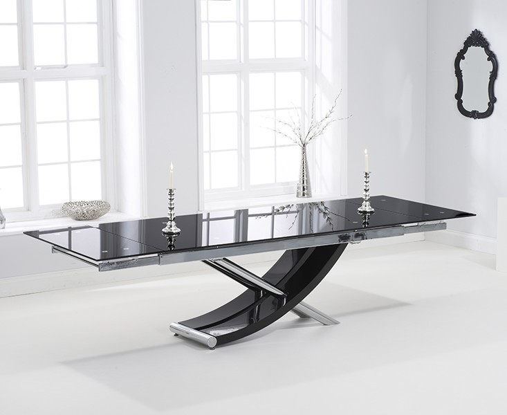 Sienna Black Gloss Extending Dining Table 2