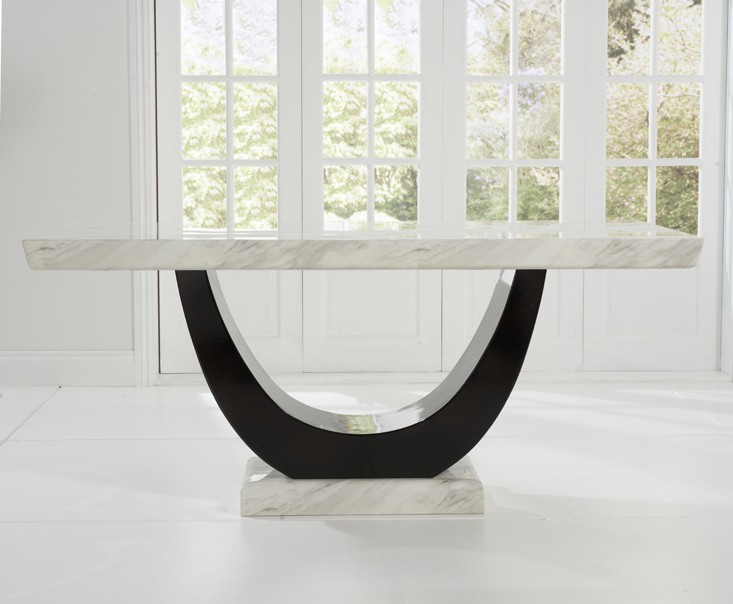 Sintra Cream & Black Marble Dining Table 2