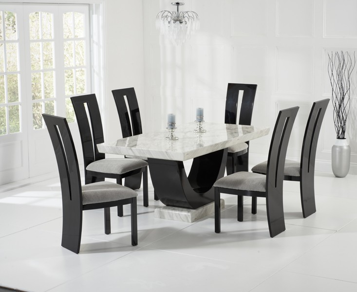 Sintra Cream & Black Marble Dining Table 8