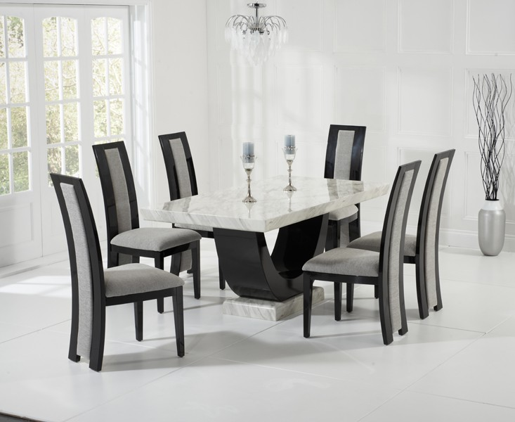 Sintra Cream & Black Marble Dining Table 9