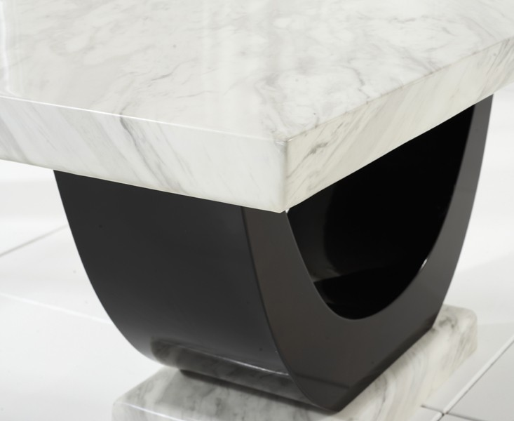 Sintra Cream & Black Marble Dining Table 5