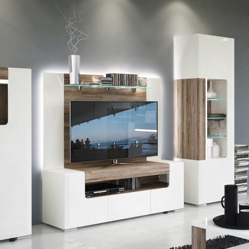 Laval Wide TV Cabinet White & Oak 2