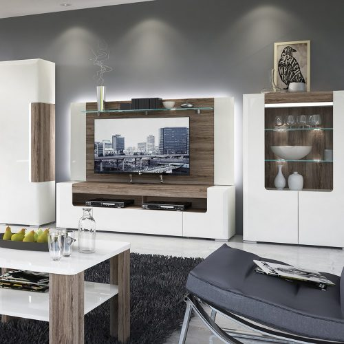 Laval Wide TV Unit White Gloss 2