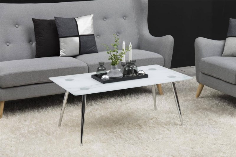 Wilma Rectangular Glass Marble Effect Coffee Table
