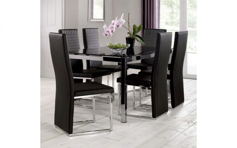 Tempo Black Faux Leather Dining Chair 3