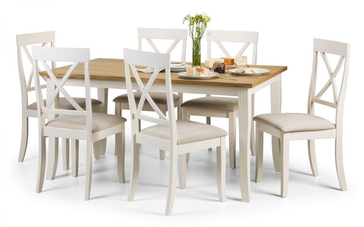 Davenport White & Oiled 6 Seater Oak Veneer Dining Set