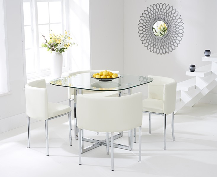 Abingdon Stowaway Dining Set 4 Seater Glass With Cream Chairs 6