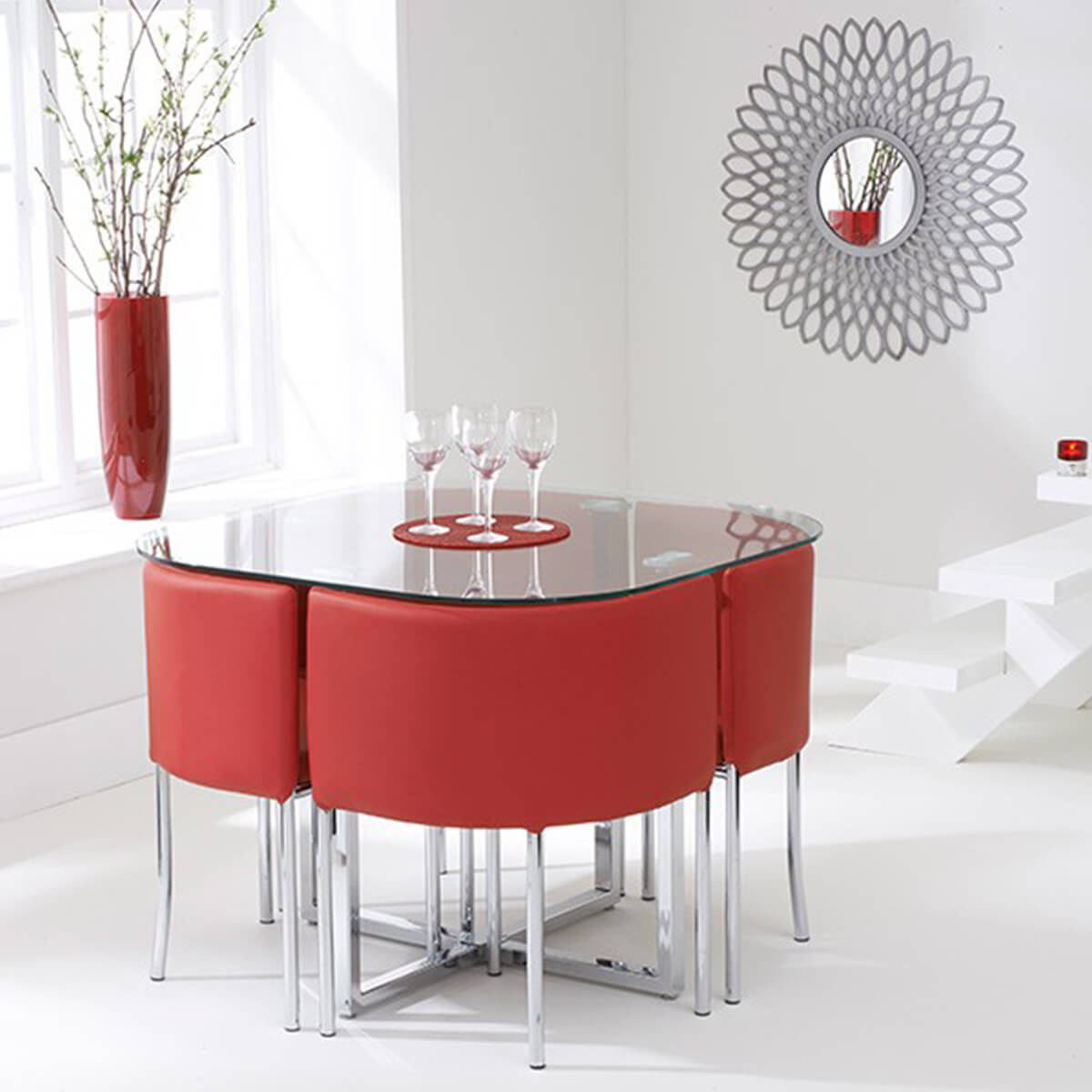 Abingdon Stowaway Dining Set 4 Seater Glass With 4 Chairs Red