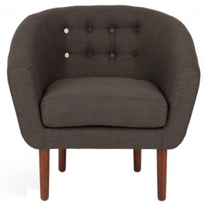 Anji grey fabric armchair Fabric with Multi Coloured Buttons