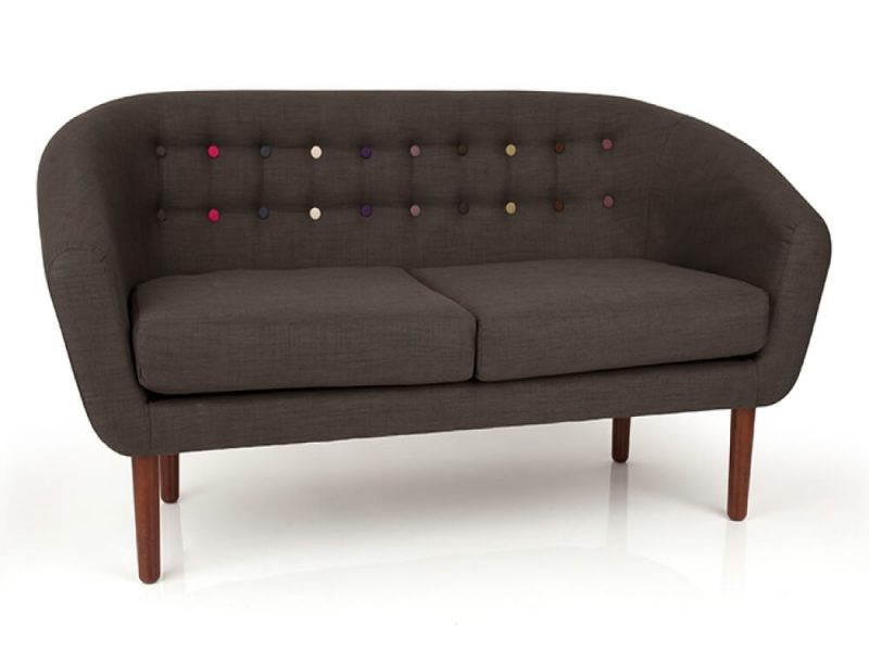 Anji Sofa Slate Grey Fabric with Multi Coloured Buttons 2 Seater 2