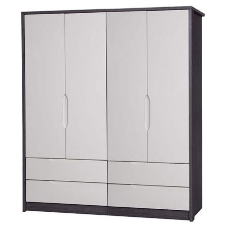 April 4 Door 4 Drawer Wardrobe Grey Amp Sand Gloss Fads