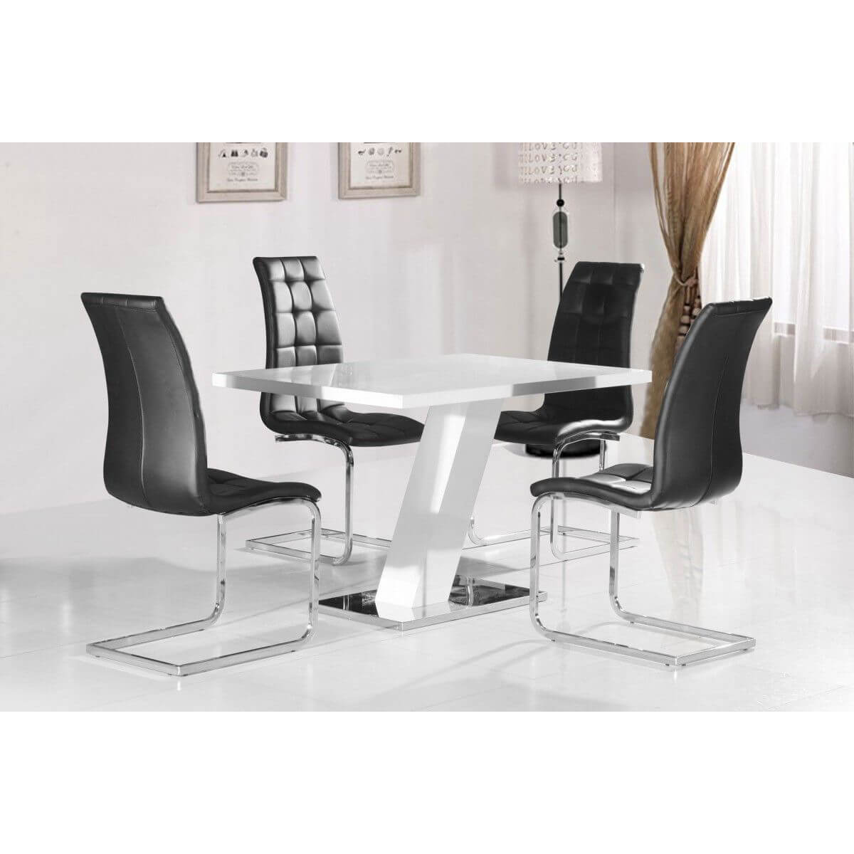 Arizona White High Gloss Dining Set Black