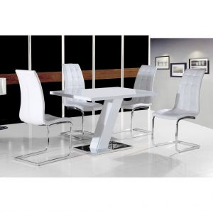 Arizona White High Gloss Dining Set White