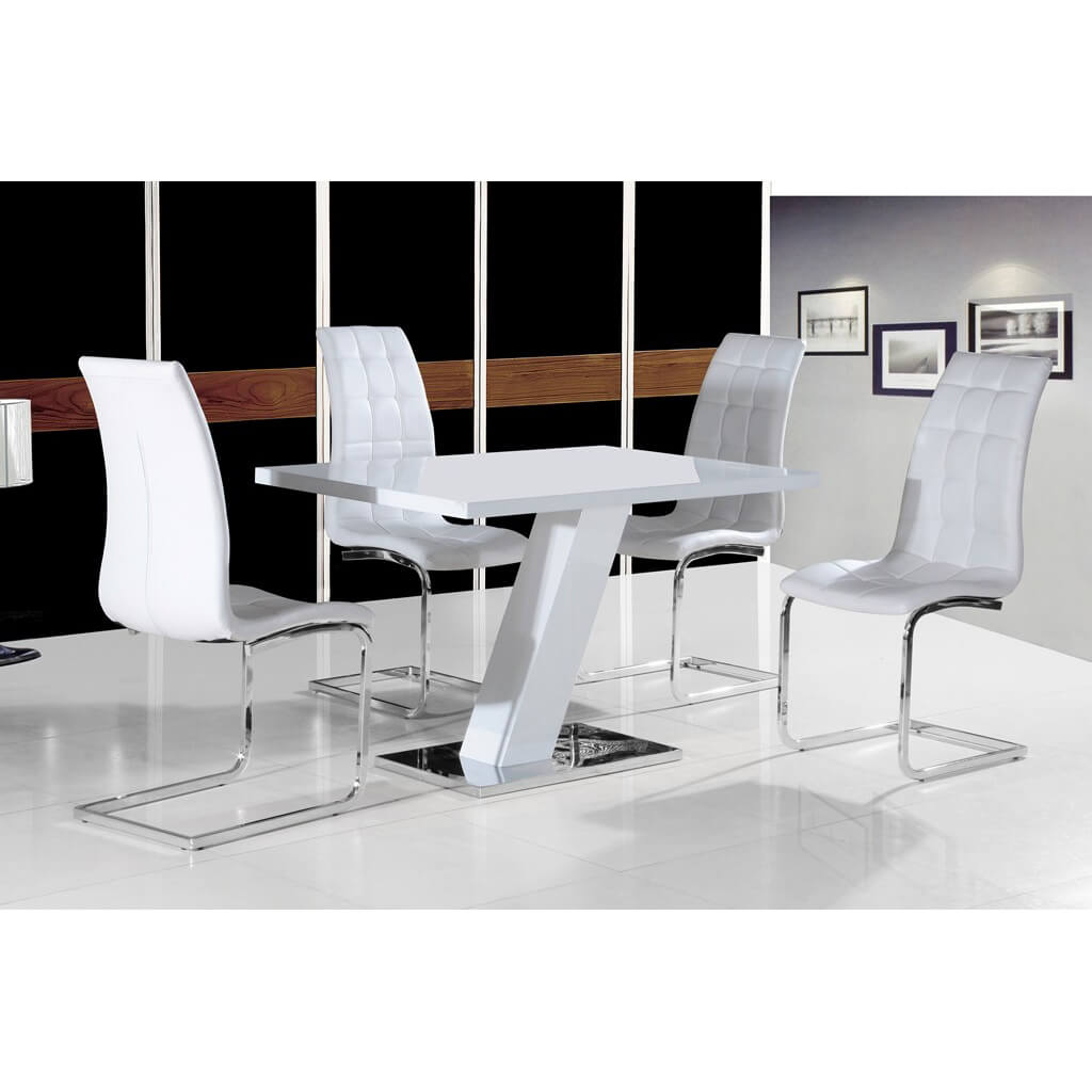 Verona Extendable High Gloss Coffee Table In White: Arizona White High Gloss Dining Set