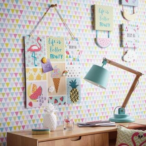 Bunting Geometric Multi Coloured Wallpaper 2