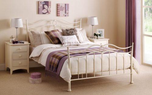 Aurora White Metal Bed Frame 1