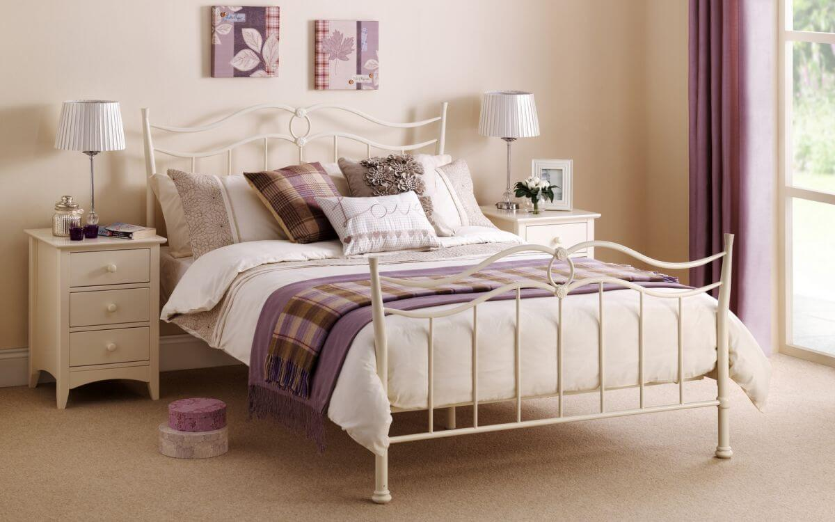 Aurora White Metal Bed Frame 1